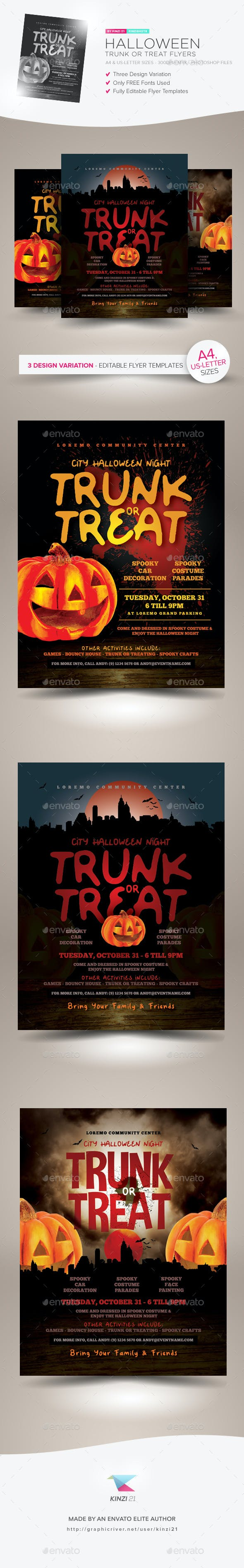 halloween trunk or treat flyer templates by kinzishots graphicriver