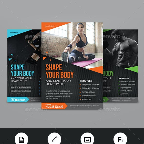 gym fitness flyer graphics designs templates