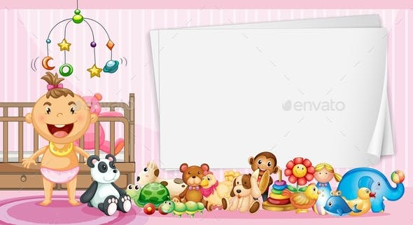 Border Template With Baby And Toys By Interactimages Graphicriver