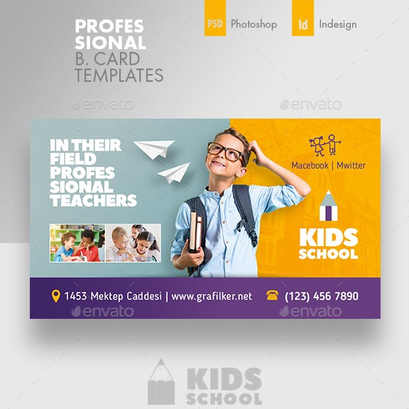 Business card templates designs from graphicriver kids school business card templates wajeb Images