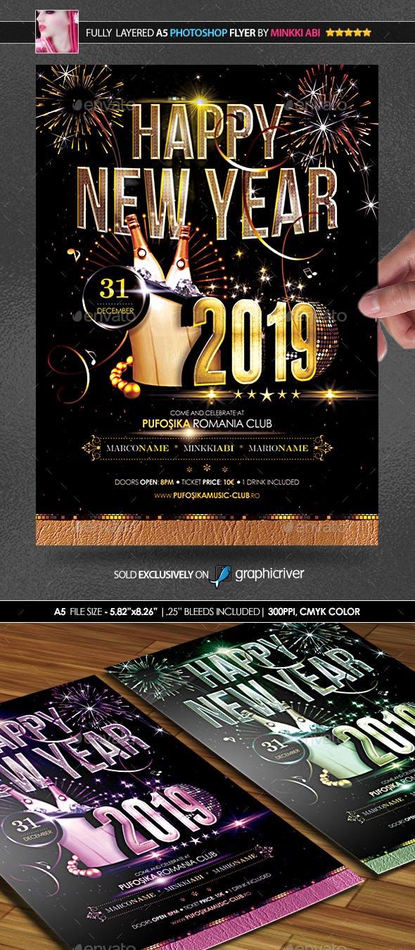 2019 new year poster flyer by minkki graphicriver