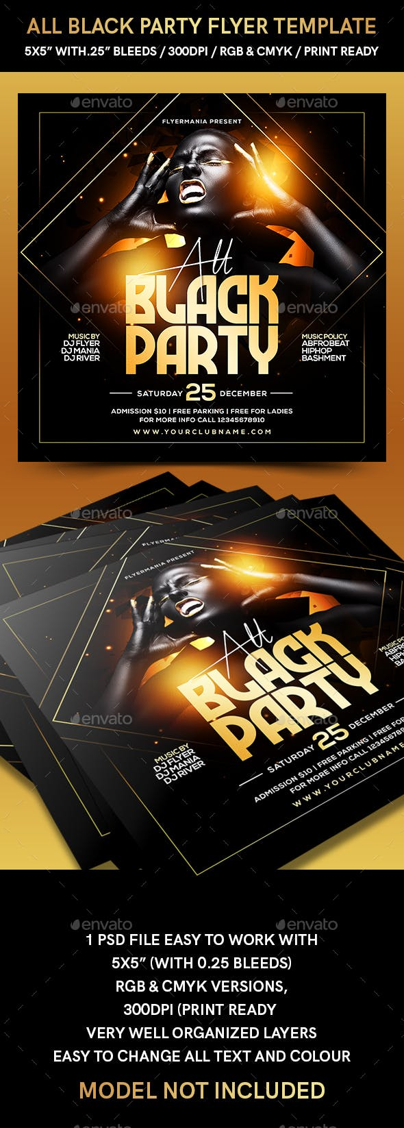 all black party flyer template by flyermania graphicriver