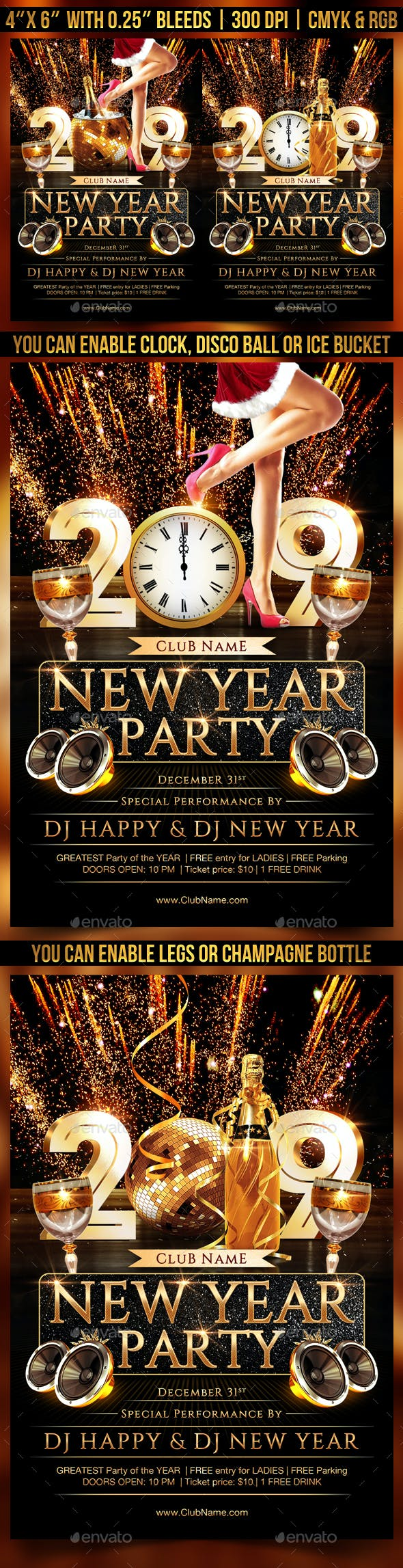 new year party flyer template by gugulanul graphicriver