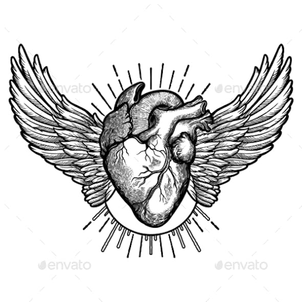 Sacred Geometry Clear All Decorative Naturalistic Heart With Wings