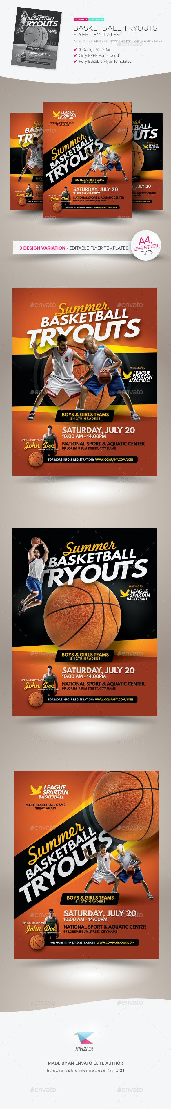 basketball tryouts flyer templates by kinzishots graphicriver