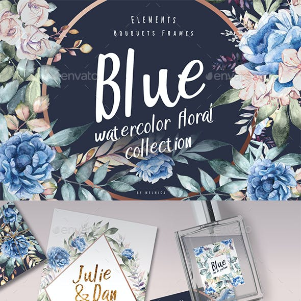 blue watercolor dark floral collection