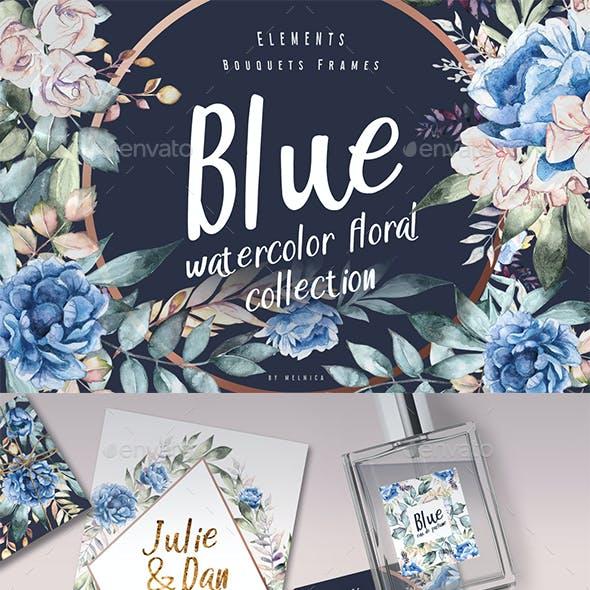 blue watercolor dark floral collection