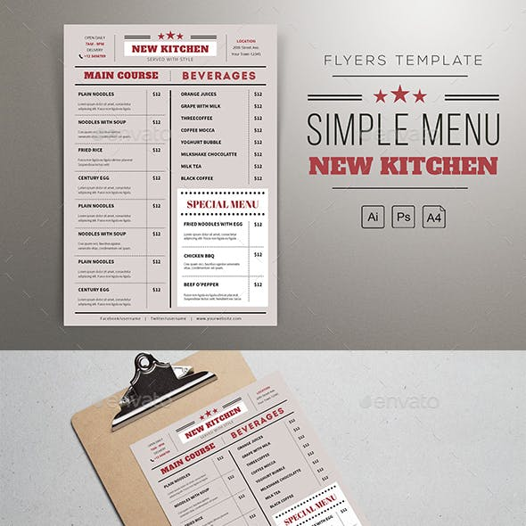 simple menu templates from graphicriver