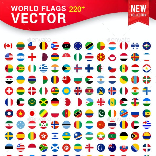 World Flags Icon Set Graphics Designs Template
