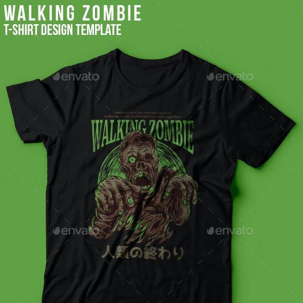 Walking Zombie T Shirt Design