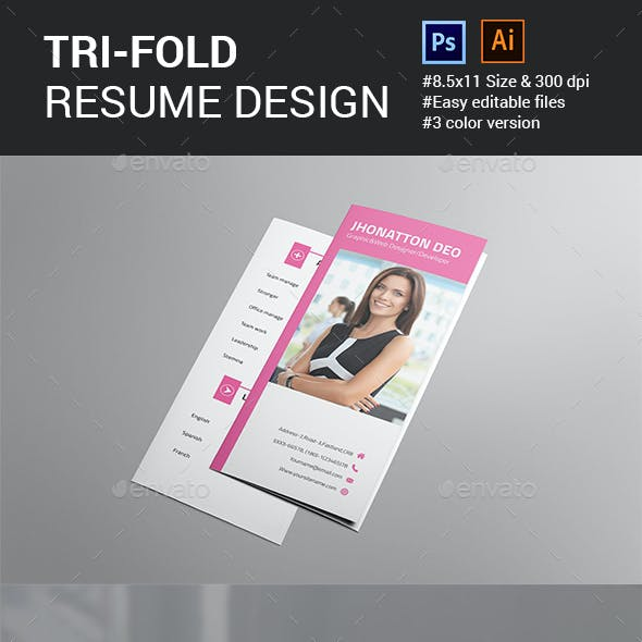 resume brochure and trifold resume graphics designs template