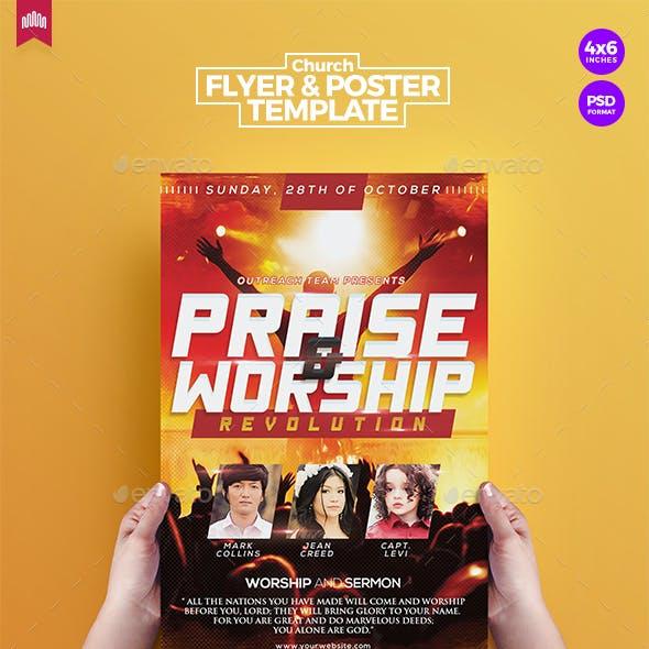 praise worship church flyer template