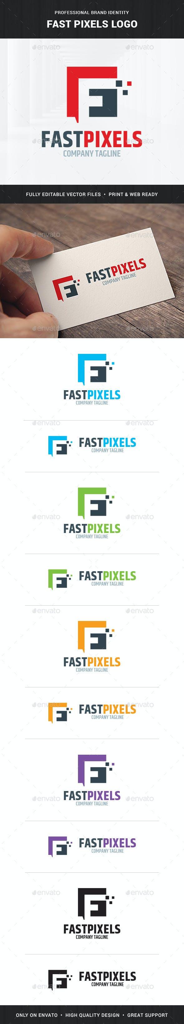 fast pixels letter f logo template letters logo templates