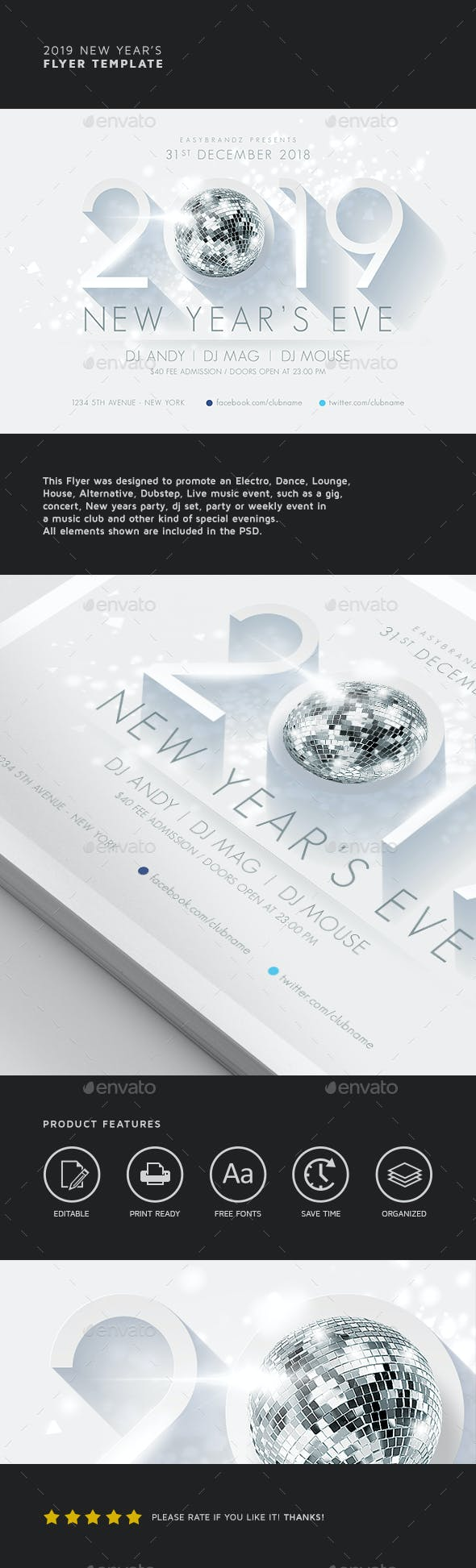 2019 new years flyer template holidays events