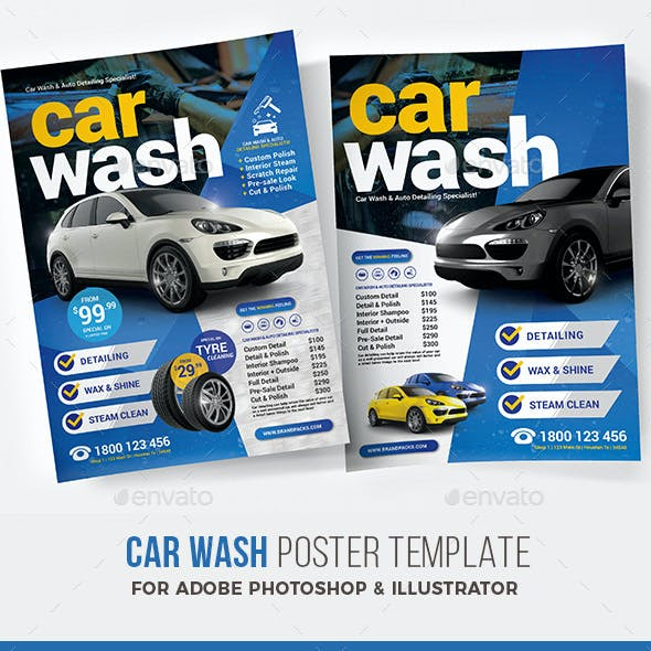 car wash poster template free.html