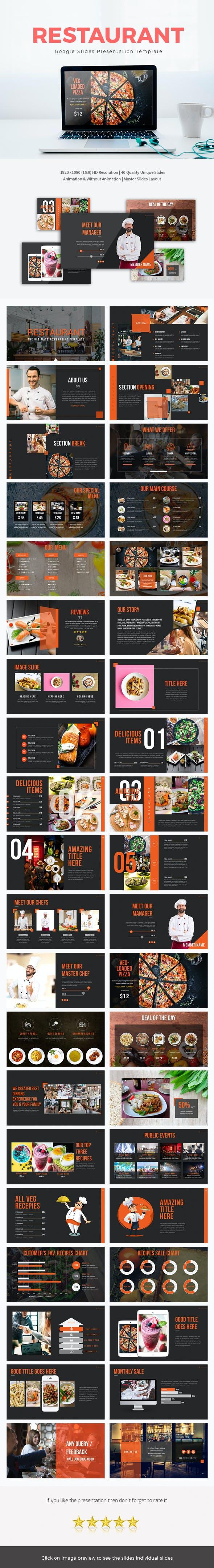 restaurant google slide presentation template by rasignature
