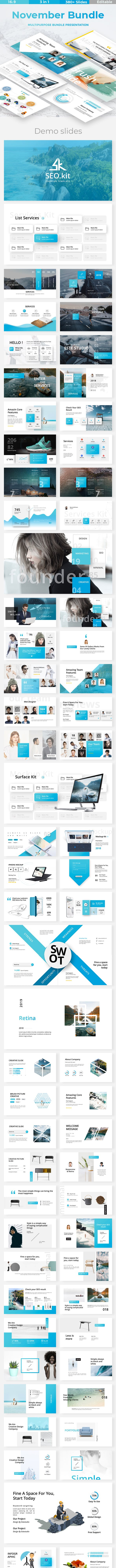 november bundle 3 in1 business powerpoint template by este studio