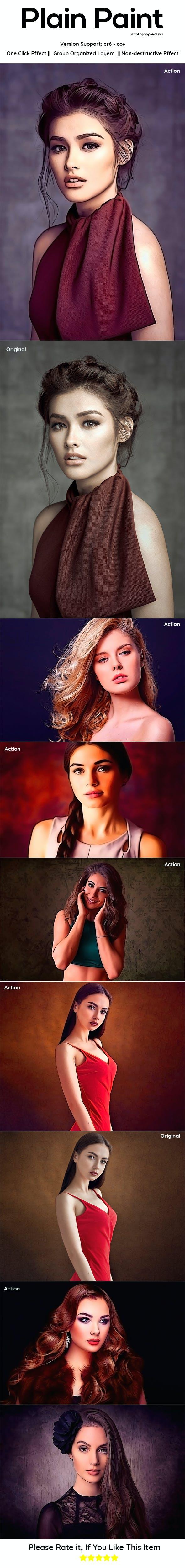 Plain Paint Photoshop Action - Photo Effects Actions