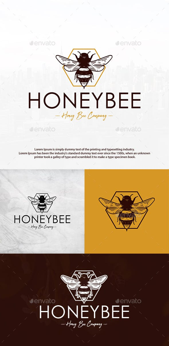 Honey Bee Vintage Logo By Bosstwinsmusic Graphicriver