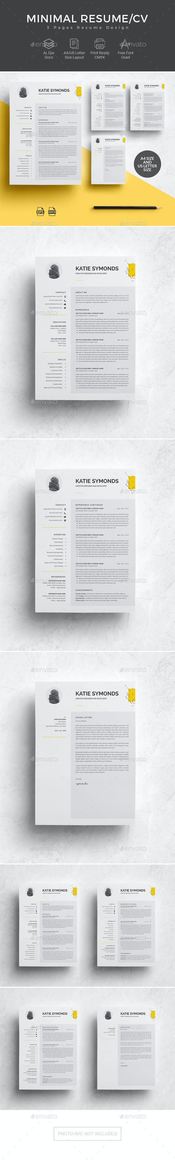 3 pages resume template cv by dotostudio graphicriver