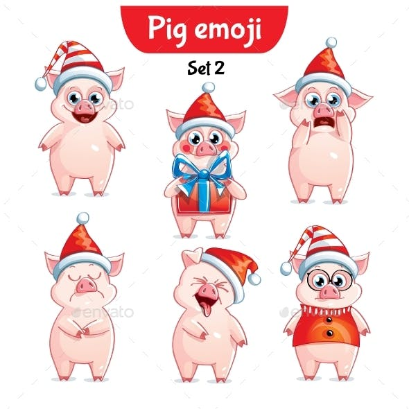vector set of christmas pig characters set 2 by say cheese