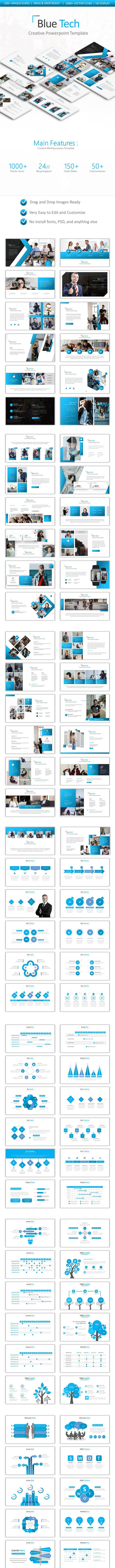 blue tech powerpoint by pro tools design graphicriver