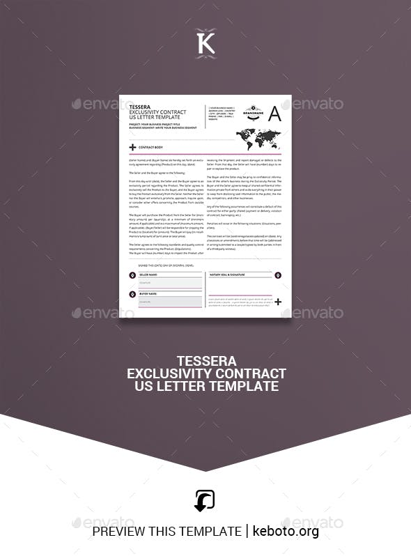 Tessera Exclusivity Contract Us Letter Template Miscellaneous Print Templates