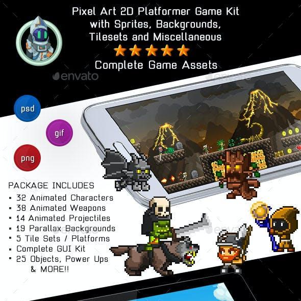 Pixel Art 2D Platformer Video Game Kit Assets by Space_Gecko