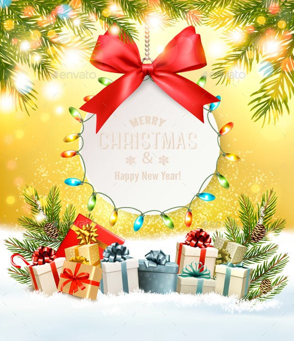 Holiday Christmas Background With Gift Card And Presents By Almoond