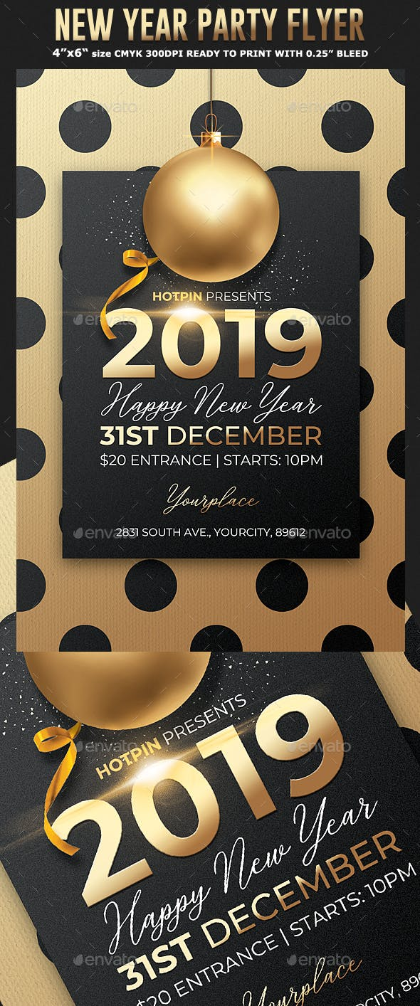 new year eve party flyer by black dot graphicriver