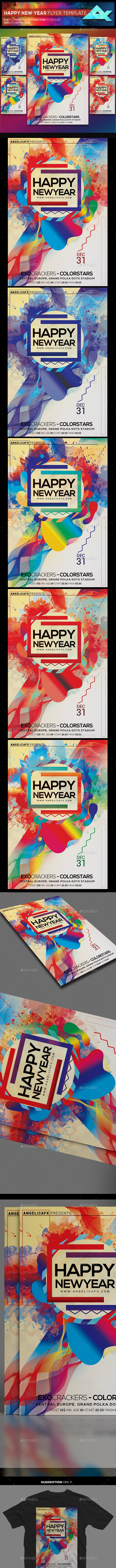 happy new year with colors photoshop flyer template flyers print templates