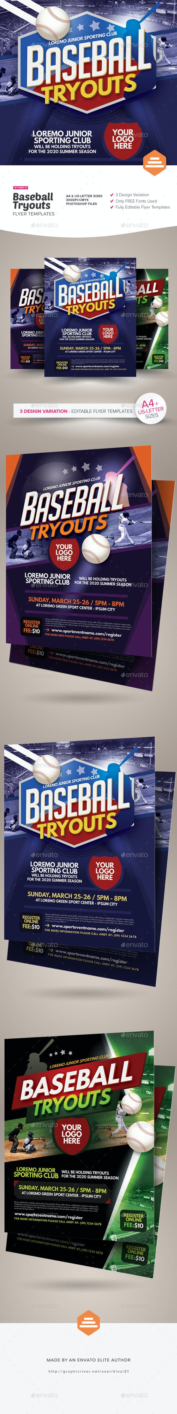 baseball tryouts flyer templates by kinzi21 graphicriver