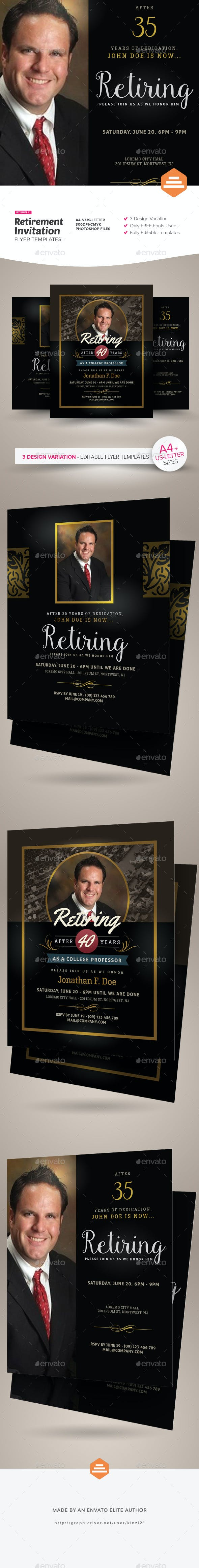 retirement invitation flyer templates by kinzi21 graphicriver