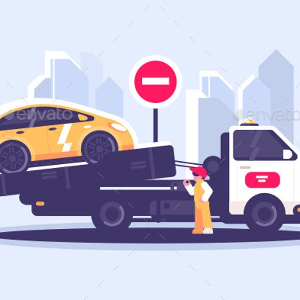 Tow Truck City Road Istance Service Evacuator