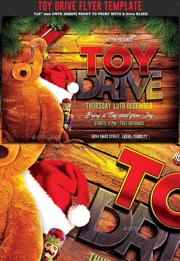 Christmas Toy Drive Flyer By Blackdot Graphicriver