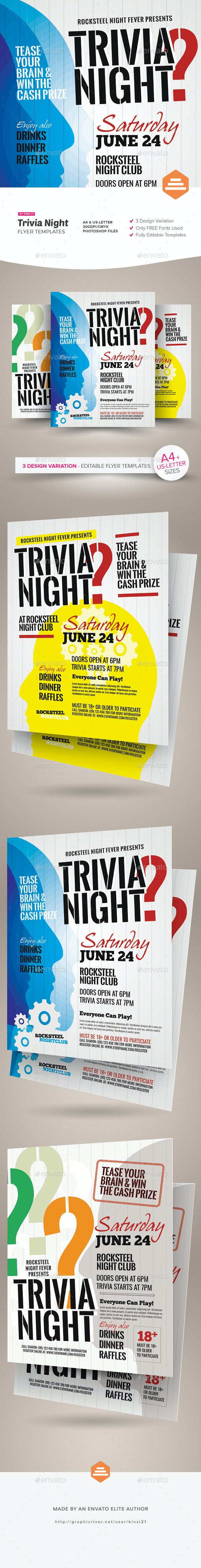 trivia night flyer templates by kinzi21 graphicriver