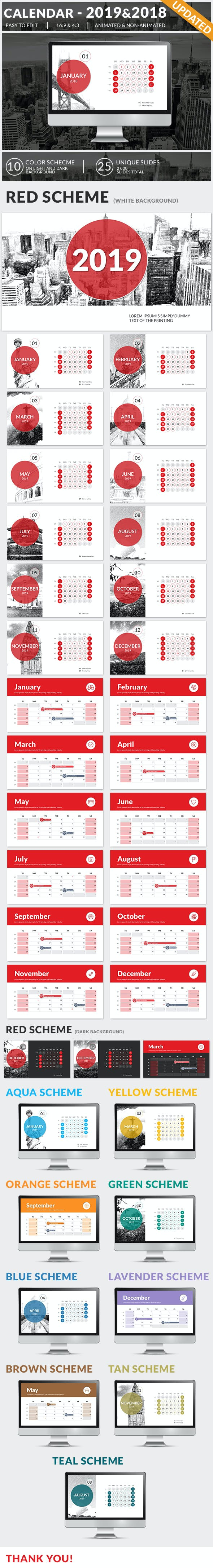 Calendar 2019 And 2018 Powerpoint Presentation Template By Sananik