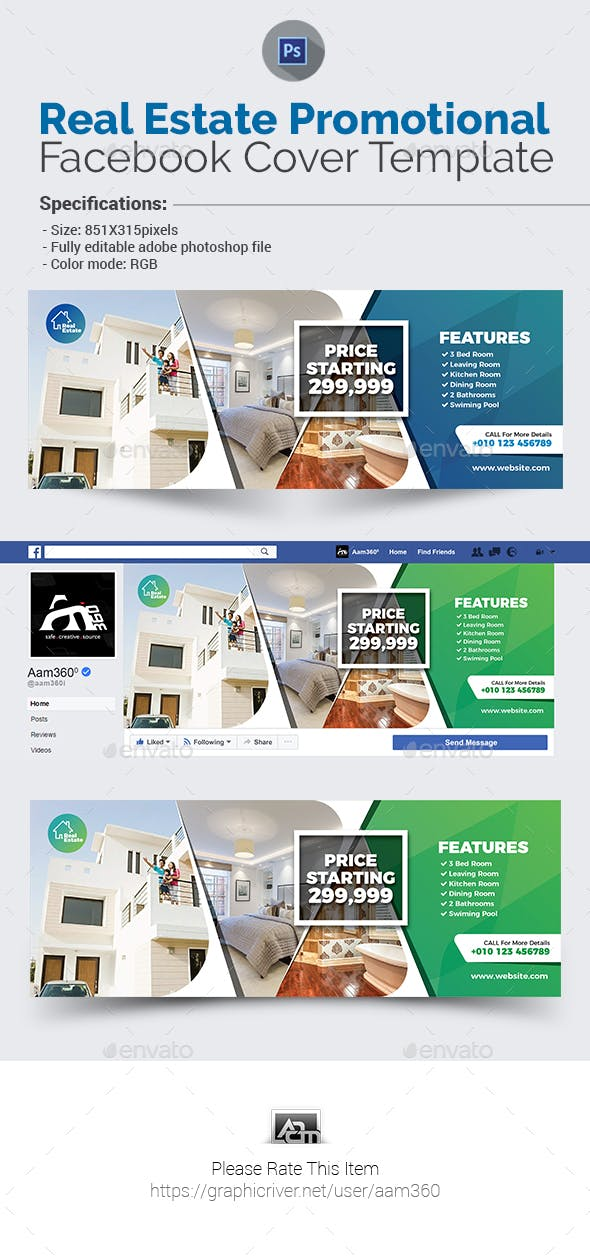 real estate facebook cover template by aam360 graphicriver
