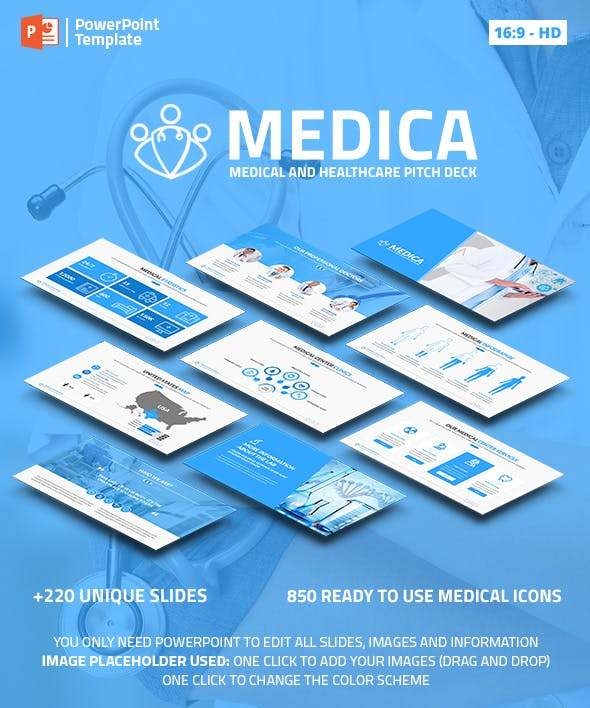 medica medical and healthcare ppt pitch deck by spriteit