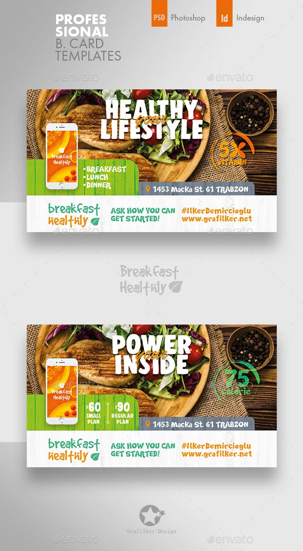 Healthy Food Business Card Templates By Grafilker Graphicriver