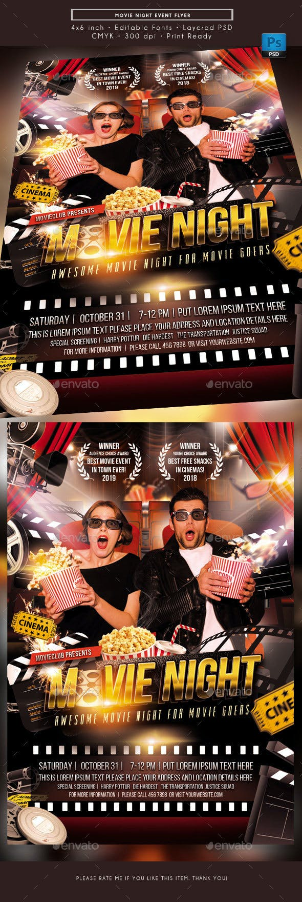 movie night event flyer by rudydesign graphicriver
