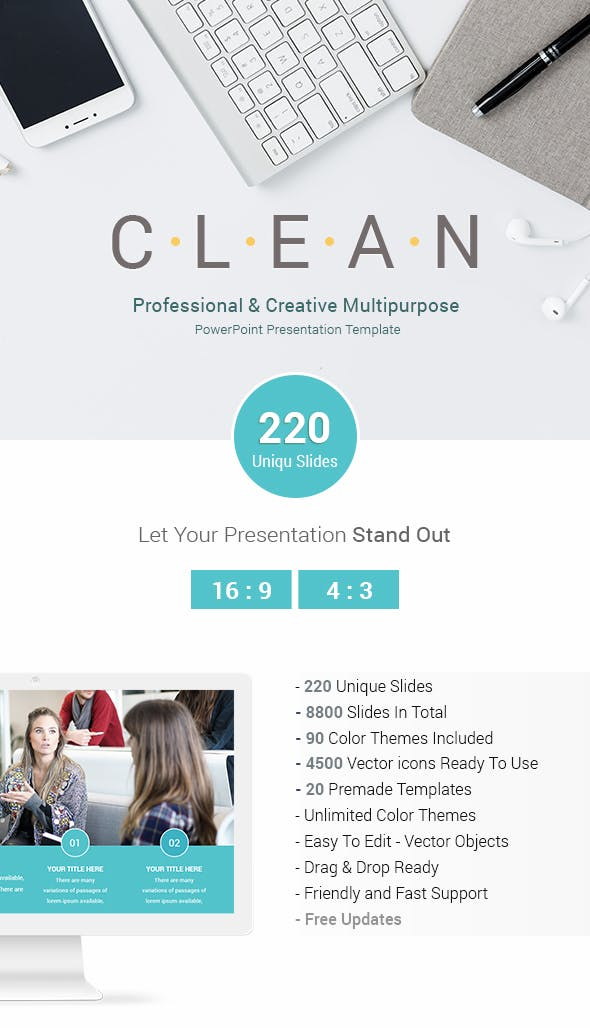 clean professional business powerpoint presentation templates by