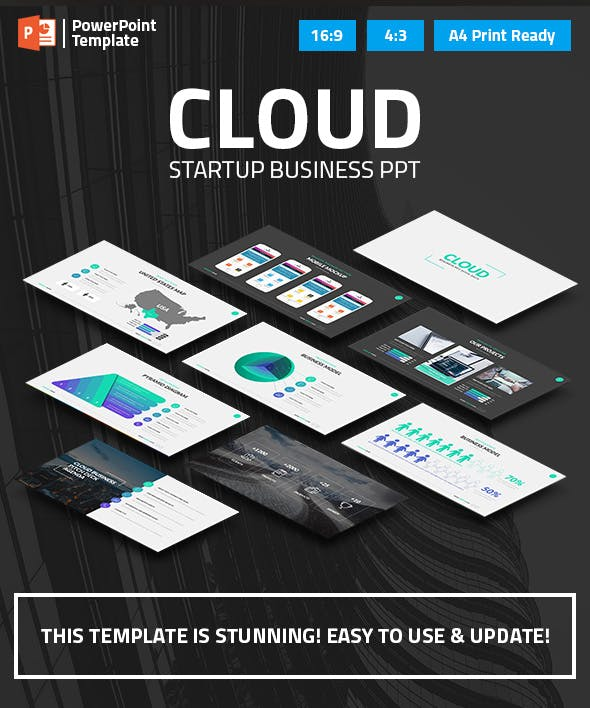cloud startup business ppt pitch deck by spriteit graphicriver