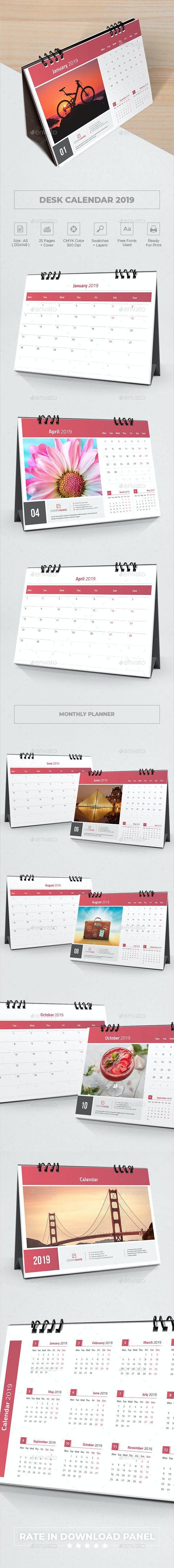 Desk Calendar 2019 Planner By Bourjart Graphicriver