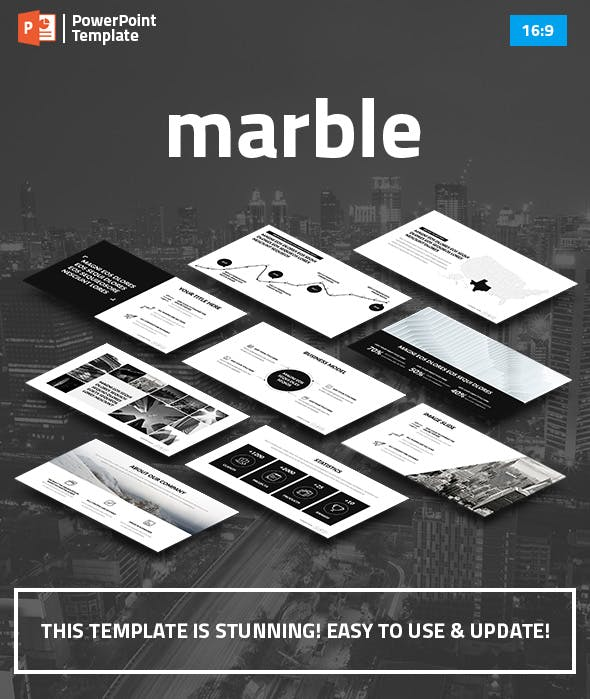marble minimal business powerpoint template by spriteit graphicriver