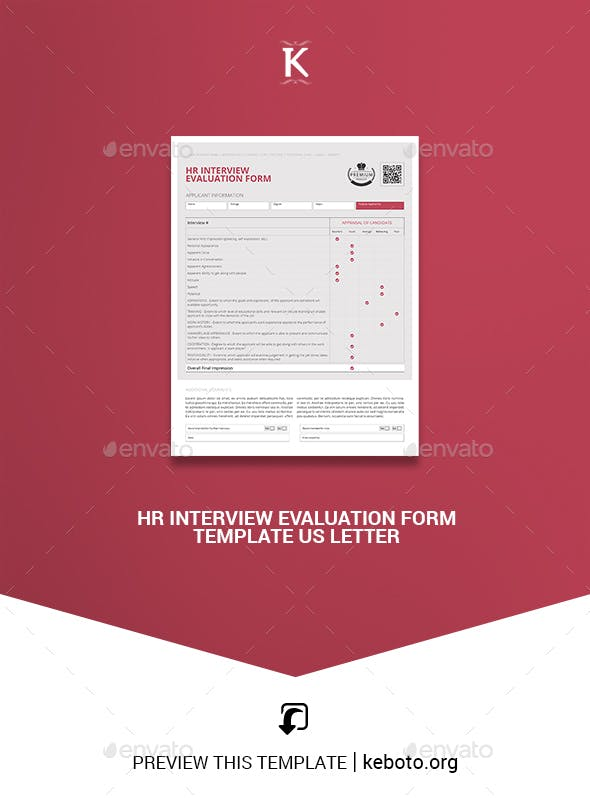 hr interview evaluation form template us letter miscellaneous print templates