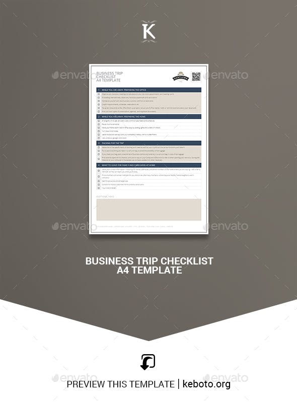 business trip checklist a4 template by keboto graphicriver