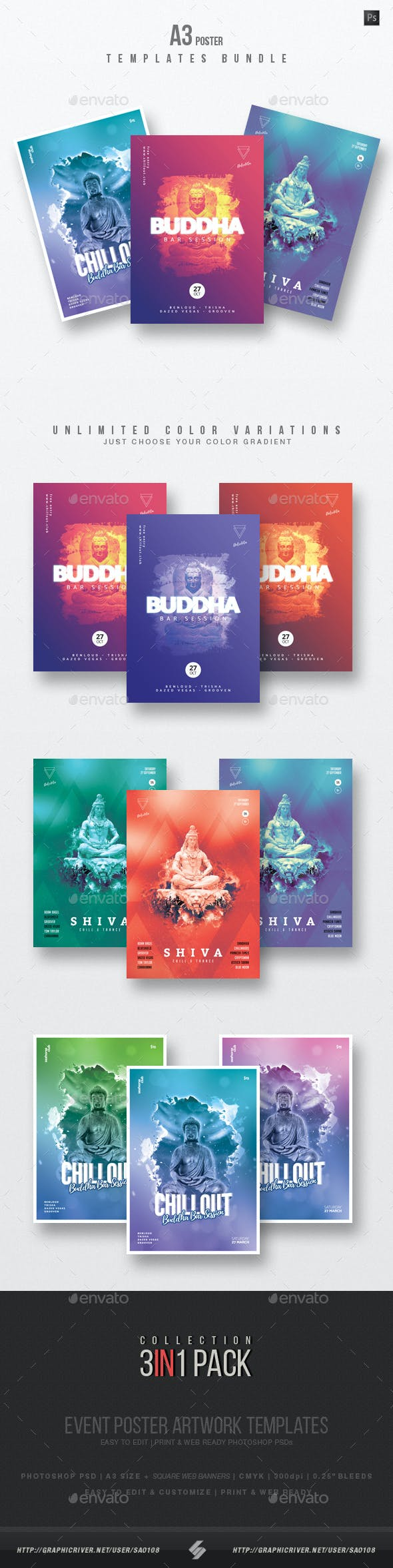 buddha bar chillout vol 2 event flyer templates bundle by sao108
