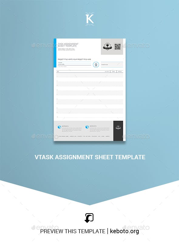 Task Assignment Sheet Template By Keboto