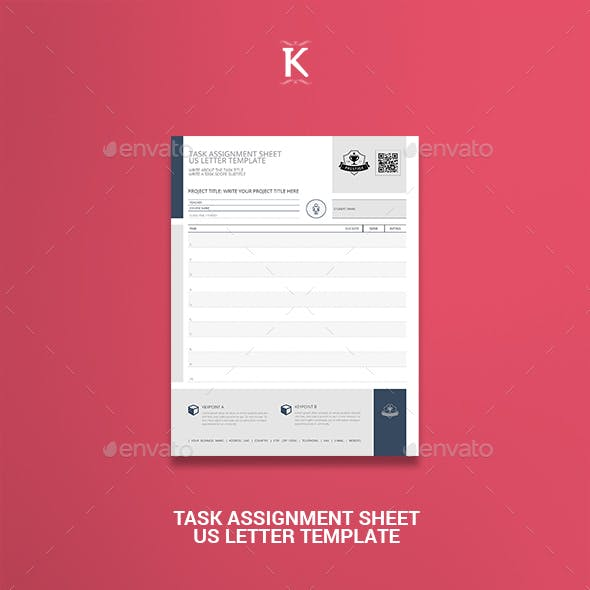 Task Assignment Sheet US Letter Template By Keboto